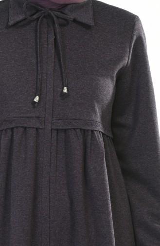 Winterliches Abaya mit Reissverschluss 8221-03 Lila 8221-03