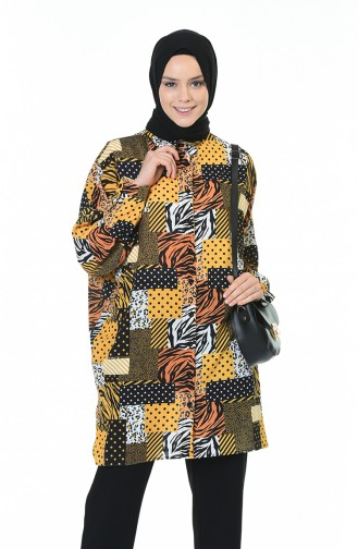 Bat Sleeve Patterned Shirt Mustard Black 0935-01