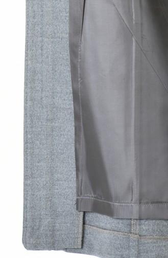 معطف طويل رمادي 9017-06