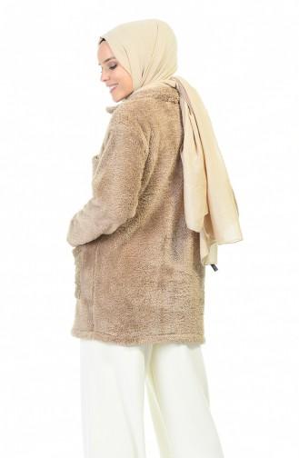 معطف نسيج القطيفة بني مائل للرمادي 6387-01