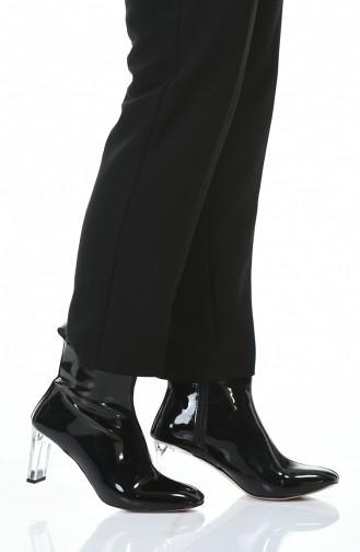 Women´s Transparent Heel Boots Black Patent Leather 028K-01