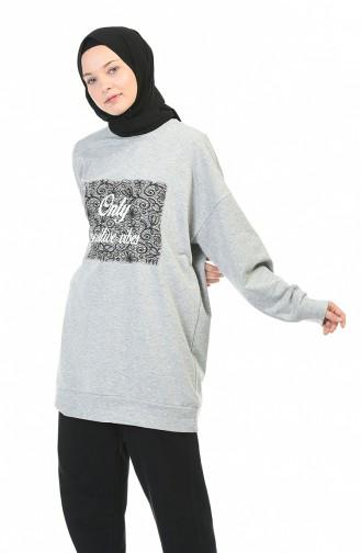 Bedrucktes Sweatshirt mit Fledermausärmeln 0773-01 Grau 0773-01