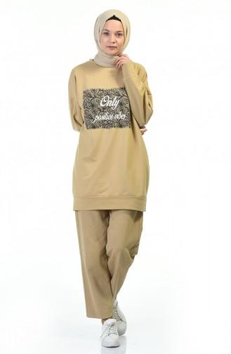 Bedrucktes Sweatshirt mit Fledermausärmeln 0773-02 Beige 0773-02
