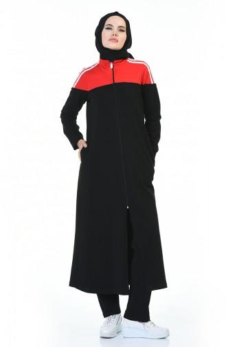 Fermuarlı Ferace Takım 9117-02 Siyah Kırmızı 9117-02