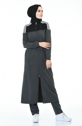 Tracksuit Zippered Long Jacket Set Black Anthracite 9117-04