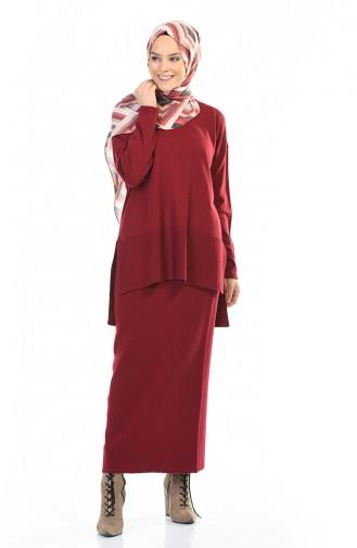 طقم تريكو بلوزة وتنورة أحمر كلاريت 4146-01