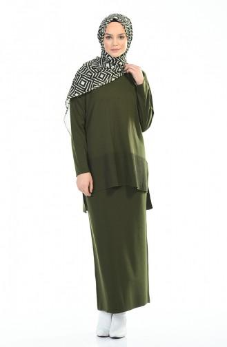 Tricot Blouse Skirt Double Set Khaki 4146-02