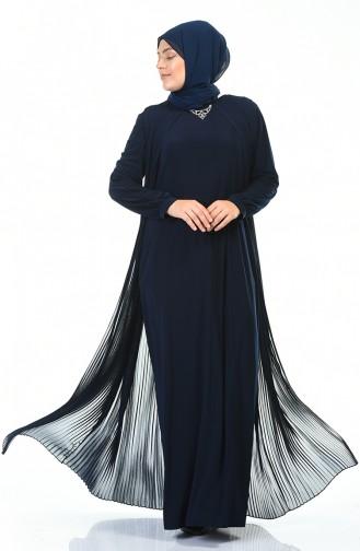 Büyük Beden Kolye Detaylı Piliseli Elbise 6271-03 Lacivert 6271-03