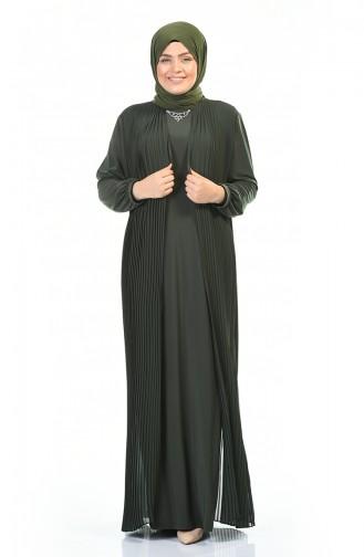 Robe Plissée Avec Collier Grande Taille 6271-04 Khaki 6271-04