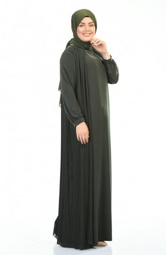 فستان مطوي مقاس كبير مع قلادة كاكي 6271-04