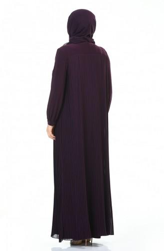 Büyük Beden Kolye Detaylı Piliseli Elbise 6271-05 Mürdüm 6271-05