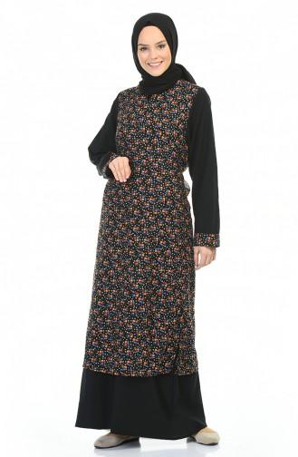 Flower Patterned Dress Black 0100-03