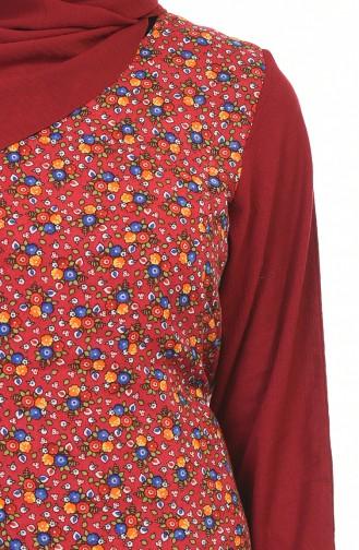 Çiçek Desenli Şile Bezi Elbise 0100-04 Bordo 0100-04