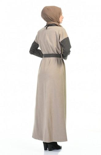 فستان رمادي فاتح 0333-01