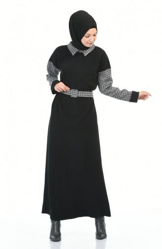 Hemdkragen Kleid mit Gürtel 0333-02 Schwarz 0333-02