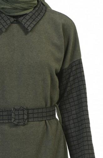 Gömlek Yaka Kemerli Elbise 0333-04 Haki