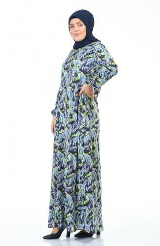 Büyük Beden Desenli Elbise 1414C-01 Fıstık Yeşil Lacivert