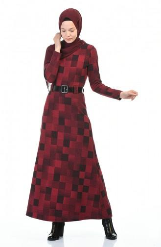 فستان شتوي بحزام أحمر كلاريت 5369-02