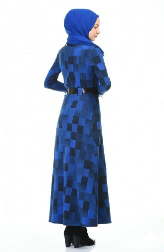 Belted Winter Dress Blue 5369-03