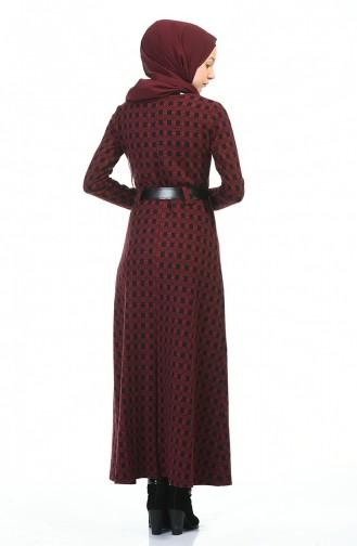 Belted Winter Dress Bordeaux 5369A-01
