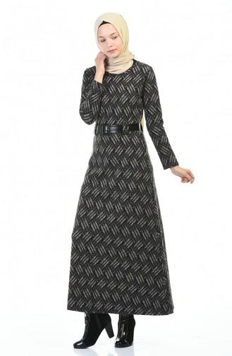Kemerli Kışlık Elbise 5369B-01 Siyah Vizon 5369B-01