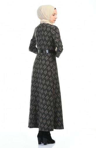 Robe Hivernal a Ceinture 5369B-01 Noir Vison 5369B-01