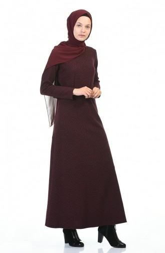 Belted Winter Dress Bordeaux 5369C-01