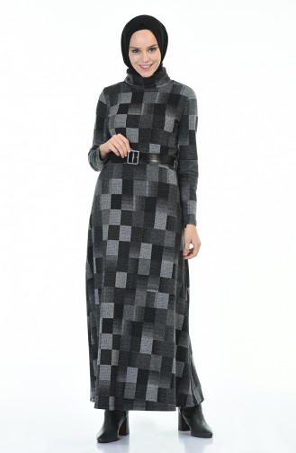 فستان بياقة مدورة شتوي بحزام رمادي 5488-01