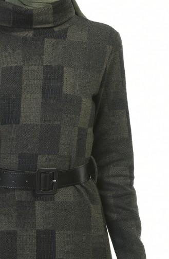 فستان بياقة مدورة شتوي بحزام كاكي 5488-03