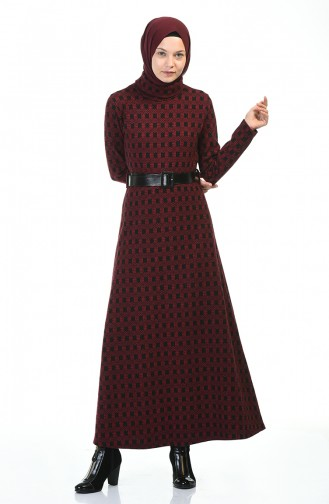 Turtleneck Belted Winter Dress Bordeaux 5488A-02