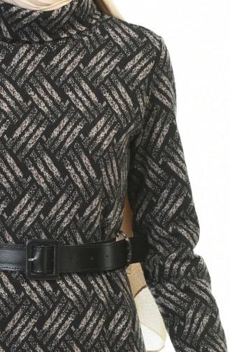 Balıkçı Yaka Kemerli Kışlık Elbise 5488B-02 Siyah Vizon 5488B-02