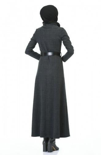 فستان بياقة مدورة شتوي بحزام دخاني 5488D-01