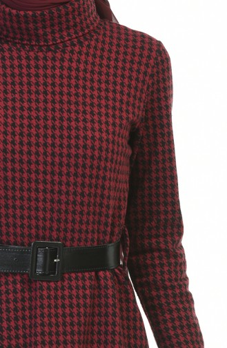 Turtleneck Belted Winter Dress Bordeaux 5488E-01