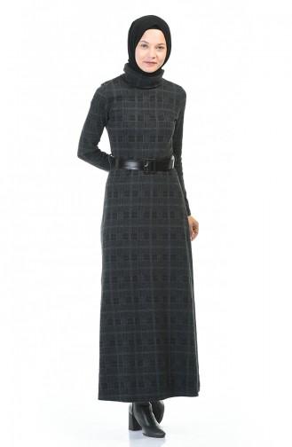 فستان بياقة مدورة شتوي بحزام دخاني 5488F-01