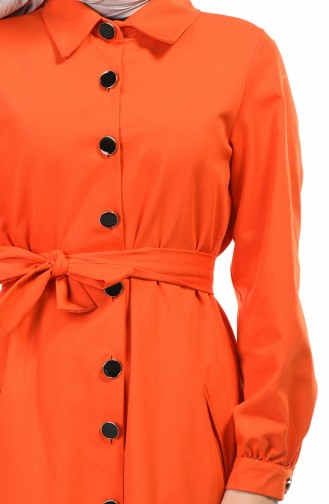Hemline Frilly Trench Coat Orange 1241-03