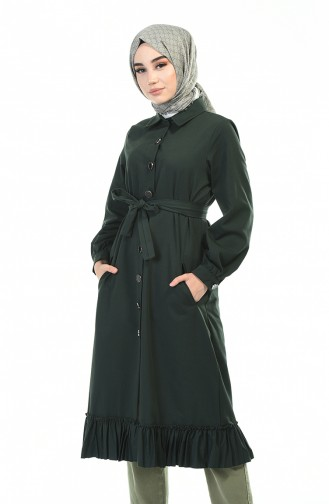 Hemline Frilly Trench Coat Emerald Green 1241-05