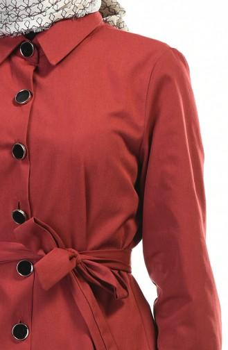 Hemline Frilly Trench Coat Bordeaux 1241-07