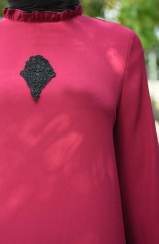 فستان مزين بالدانتيل أحمر كلاريت 8038-07