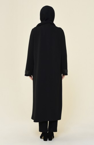 Big Size Medium Length Pearl Abaya Black 0064-01