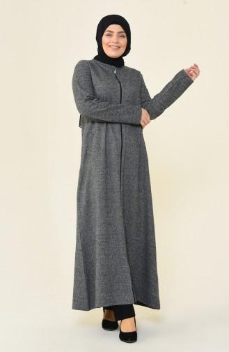Büyük Beden Fermuarlı Kışlık Ferace 99220D-01 Gri