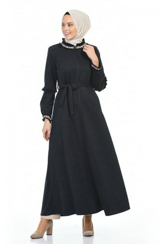 Abaya Hivernal Perlées 8216-01 Bleu Marine 8216-01