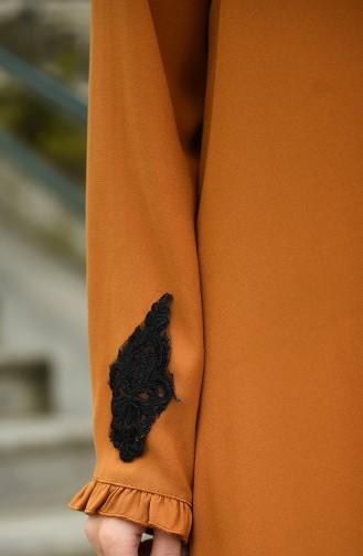 Robe Détail à Dentelle 8038-01 Moutarde 8038-01