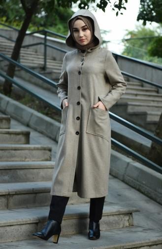 معطف طويل بني مائل للرمادي 2036-08