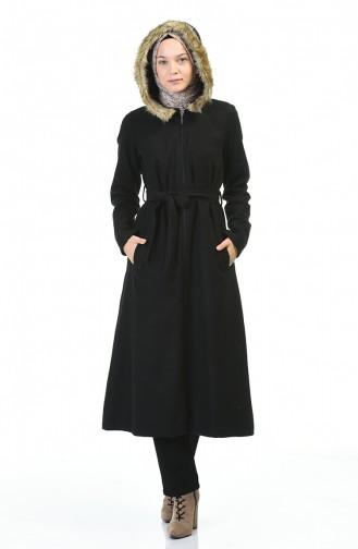 معطف طويل أسود 6807-01