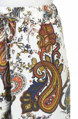 Desenli Bol Paca Pantolon 5010-01 Beyaz Lacivert 5010-01