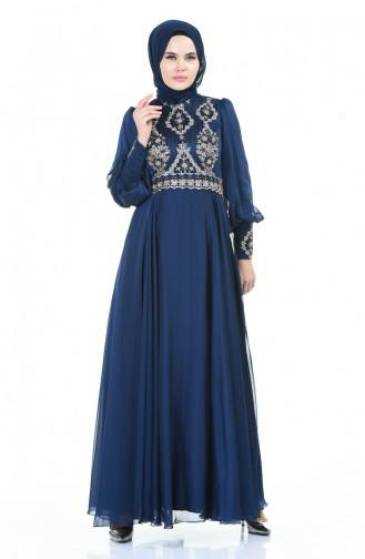 فستان سهرة مطرز بالخرز كحلي 6166-01