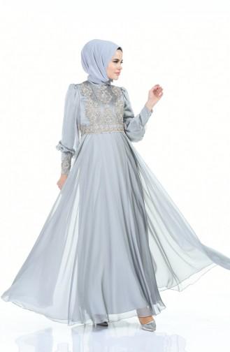 Robe de Soirée Brodée de Perles 6166-02 Gris 6166-02