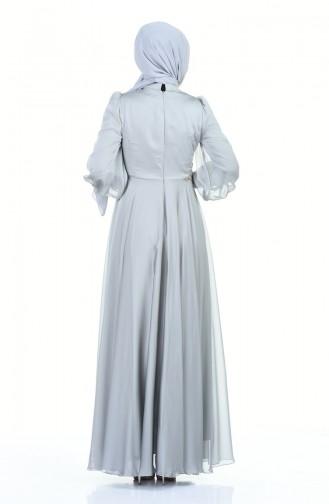 فستان سهرة مطرز بالخرز رمادي 6166-02
