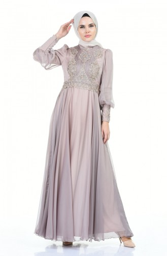 Beaded Embroidered Evening Dress Mink 6166-04