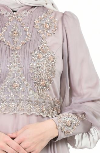Perlen Detaillertes Abendkleid  6166-04 Nerz 6166-04